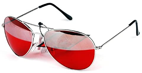 Red And Silver Duel Lens Aviator Sunglasses Red Tint Silver Frame Unisex