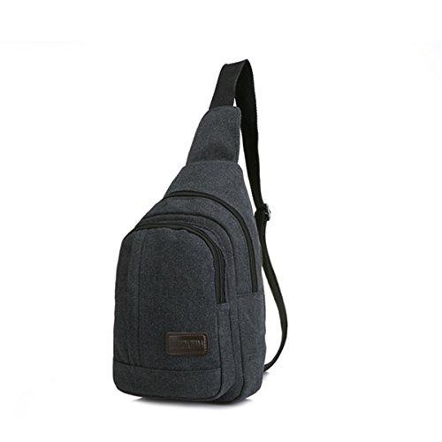 Y-DOUBLE Herren Vintage Umhängetasche Messenger Schultaschen Canvas Retro Tasche für Reisetasche Sport Reisetaschen Militär Lässige Reisetasche Strandtasche Schultertasche schwarz-1