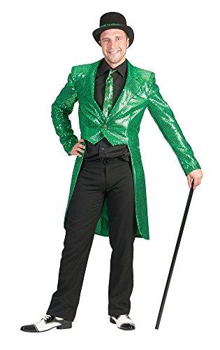 Pailletten Frack für Herren Grün Gr. 48 50 für Karneval Faschingoder Mottoparty
