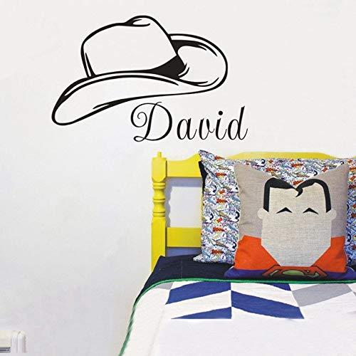 Cowboy-Hut - Vinyl Wandaufkleber Western Home Decor Wandkunst Jungen und Mädchen persönliche Raumdekoration 44x60cm ()