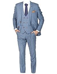 Marc Darcy uomo quadri 3 pezzi abito con a doppio petto gilet George - Blu  cielo c68a829096b