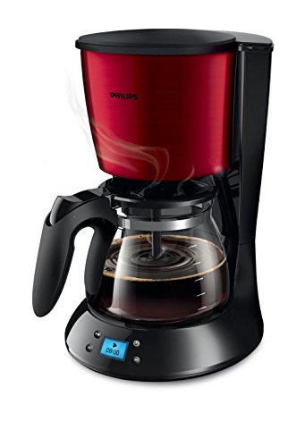 Philips Daily Collection HD7459/61Kaffeemaschine freistehend–(freistehend, Filter-Kaffeemaschine 1,2l, gemahlener Kaffee, 1000W, Schwarz, Rot)