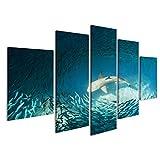 islandburner Bild Bilder auf Leinwand Hai und kleine Fische im Ozean - Natur Hintergrund Wandbild, Poster, Leinwandbild EMM