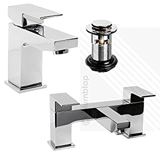 Arian 'Tulsi' Modern Square Basin Mixer AND Bath Filler Tap Pack in Chrome