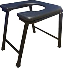 PHYSIQO SURGICAL COMMODE STOOL, COLOUR BLACK,ROUND PLASTIC SEATING SEAT, FOLDABLE STOOL, PREMIUM LOOK, FOLDABLE STOOL, EASILY STORAGE AND TRANSPOTATION