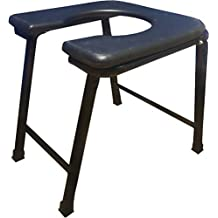 PHYSIQO Surgical Round Plastic Commode Seat Foldable Stool, Black