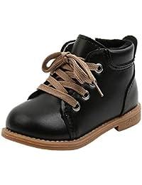 Botas Cortas para niños Moda de otoño e Invierno Zapatos Casuales para niños Cordones de Cuero cómodos más Botas de Suela Suave cálidas de Terciopelo Zapatos para bebés y niños pequeños