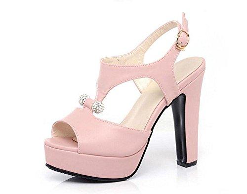 Peep Toe Kn枚chelriemen Pumps High-Heel Sandalen Wasserdichte Plattform R枚mische Damen Hollow Damen Schuhe Gro脽e Gr枚脽e Pink