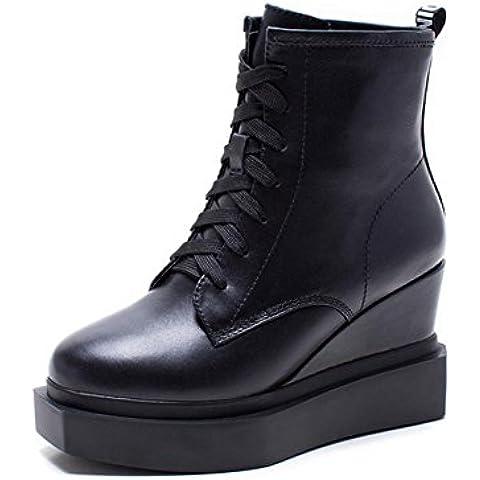 Piattaforma di cuoio inverno Ladies scarpe zeppe piattaforma stivaletti casual , black , 35