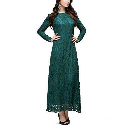 Highdas Europa muslimische Dame Lange Ärmel ethnischen Robe dünne Spitze Fußbodenlänge arabischen Kleid Grün