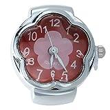 WOVELOT Reloj de Anillo Cuarzo Aleacion Plateado Esfera Roja Flor para Mujer