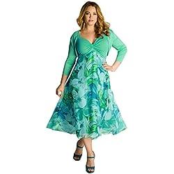 FORH Frau Sommer Blumen Boho Maxi Abend Party Beiläufig Strand Kleid Plus Größe 1*Dress+1*Top (L, Grün)