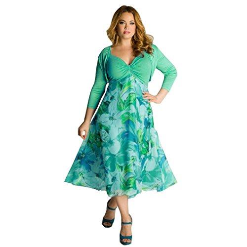 Kleider Plus Unter Prom 200 Size (FORH Frau Sommer Blumen Boho Maxi Abend Party Beiläufig Strand Kleid Plus Größe 1*Dress+1*Top (L, Grün))