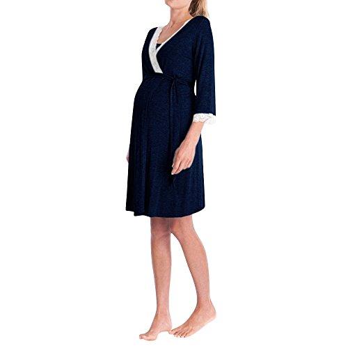Topgrowth abbigliamento premaman madre pizzo abito casual vestito maternità donna pizzo incinte pigiama abiti da notte vestito pigiami (marina militare, m)