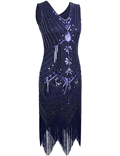 PrettyGuide Damen 20er Jahre Charleston Kleid Pailletten Art Deco Franse Cocktail Gatsby Kleid Royalblau
