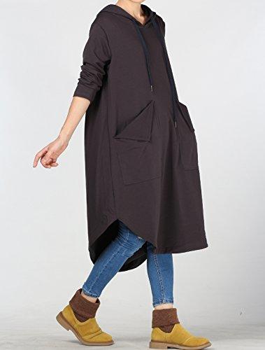 Vogstyle Femme Sweatshirt Capuche Long Sweat Long Pull Shirt Robe Déconrtacté avec Poches Gris