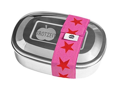 Brotzeit- Lunchbox Brotdose uno Edelstahl mit Sternen Band- Geschenk Schulanfang, 16x11x4cm, Rot (Rucksack Mit Lunch Box)