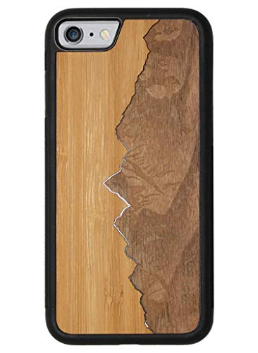 wudn Slim & Leicht Modern Sägezahn Berge Traveler Case aus Holz, Bamboo Sky/Walnut Mountains, iPhone 6/6s Schwarz-traveler-case
