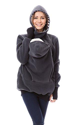 GoFuture Damen Tragejacke für Mama und Baby Känguru Klassiker VIVA GF2301XI5 Graphit mit marineweißen Streifen - 3