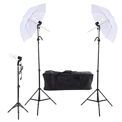 Regenschirm Fotoausrüstung (Andoer Foto / Video Portrait Umbrella Kontinuierliche Drei Beleuchtungs Set mit drei Birnen Drei E27 Swivel Sockel Drei Stehen Zwei Regenschirme Tragetasche)