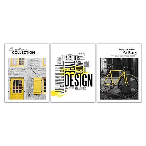 LYFCV Zitat HD Bild Wandkunst Leinwand Malerei Abstrakte Dekor Gelb Fahrrad Und Haus Landschaft Poster Drucke Foto Pop Einfache 50x70 cm Kein Rahmen - Haus Pop