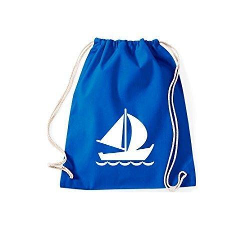 Shirtstown Sacca ginnastica Borsa palestra Barca a vela, Gommone, Skipper, Capitano, Molti colori - bianco, 37 cm x 46 cm blu reale