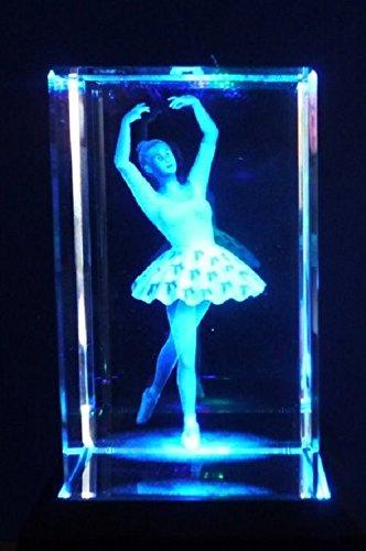 3D ballerina, con incisione al laser, ornamento di cristallo in confezione regalo da collezione AWD