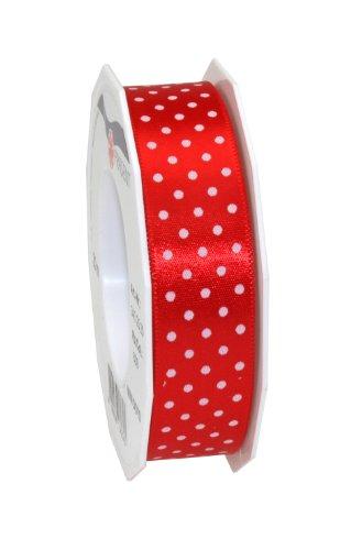 Präsent 3432520-609 - Cinta de tela (20 m, 25 mm de ancho), diseño de lunares, color rojo