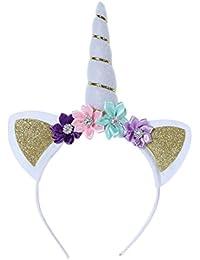 3412a9541413 Fablcrew Unicornio Diadema Orejas Horn Hail Hoop Flor Diademas para Niñas  Niños Cumpleaños Disfraz ...