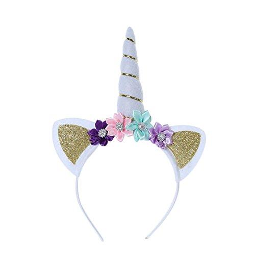 Kostüm Kopfbedeckung Einhorn - Wimagic 1 x Kinder Einhorn Stirnband Mädchen Kreativ stylisch Haarreif mit Blumen Kopfbedeckung Geburtstag Party Cosplay Kostüm Haarschmuck Geschenk für Baby Kinder, Textil, Gold, 22 cm