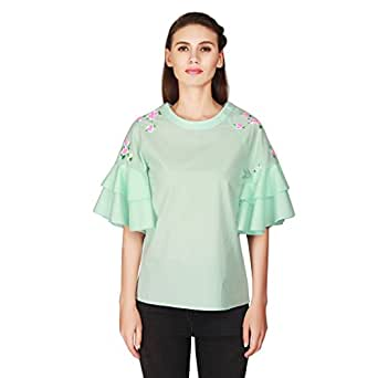 Gudi Green Cotton Embroidered Party Top