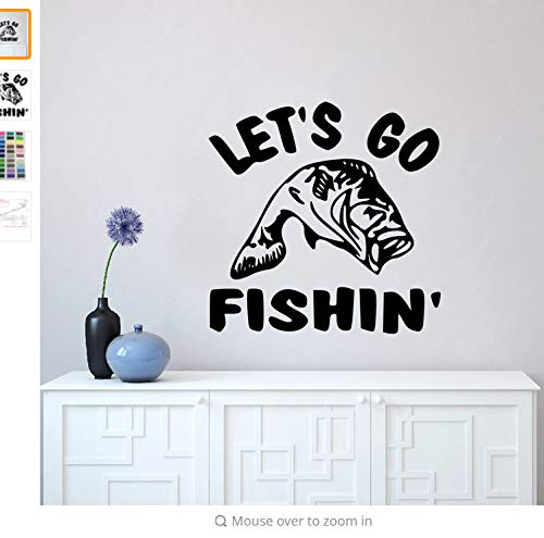 Wiwhy Let'S Go Angeln Zitat Wandaufkleber Die-Cut Wandtattoo Angeln Wand Kunst Wandbild Home Decor Fisch Liebhaber Geschenk Vinyl Tapete 57X57Cm