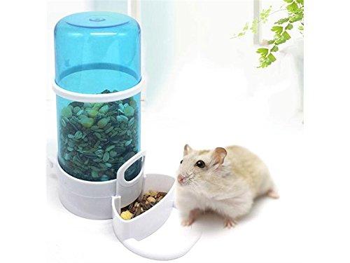 PanpA Nachhaltig 2 in 1 Automatische Futterautomat und Wasserspender für Hamster Gerbil Kleine Tiere mit festen Set-Blau