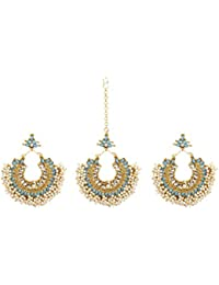 Ethnic Gold Plated Aqua Color Bollywood Style Maang Tikka With Earring Set For Women Wedding & Party Wear Jewelry