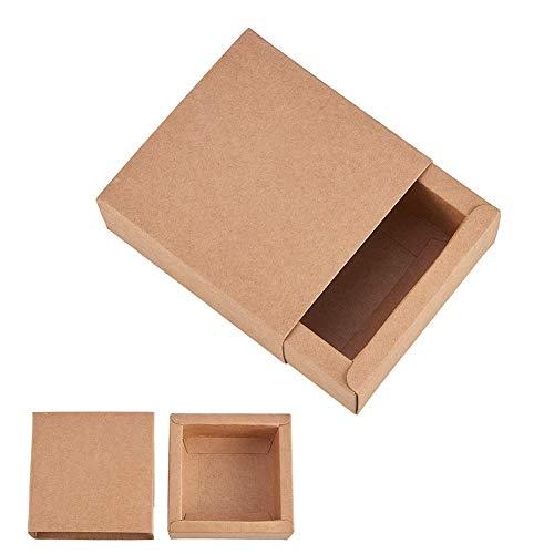 Benecreat 20 pack scatole di cartone kraft scatole regalo di festa scatole di sapone di sapone bomboniere di addio al nubilato - marrone 8.3x8.3x3.3cm