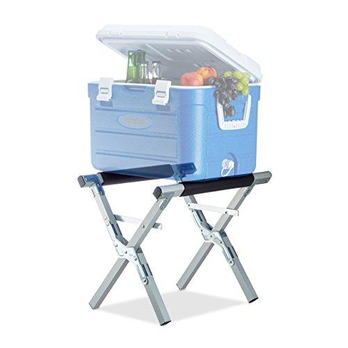 Relaxdays Kühlboxständer Aluminium, für 80 kg Traglast, höhenverstellbare stabile Kühlboxablage zum Klappen, silber