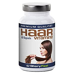 GloryFeel Haar Vitamine + Biotin   Hochdosierter Haar Vital Komplex mit Biotin, Zink, Pantothensäure, Vitamin A, C, E, B1, B2, B6 und B12 – 60 Vegane Haar Kapseln