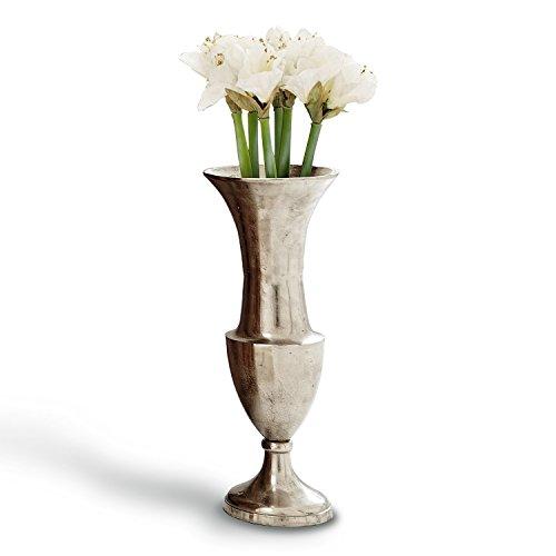Loberon Vase Gilberta, Aluminiumguss, H/Ø ca. 44/20 cm, antiksilber