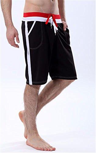 KAFEI Herren Unterwäsche Hose Hose mesh atmungsaktive Hose, schwarz, XL (Gestreifte Boardshort Schwarz)