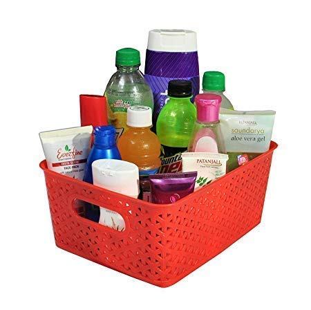 XllentTM Storage Baskets for Multipurpose use Set of 5 Pieces,Red, Medium, B20Cm, L 26Cm,H11 cm