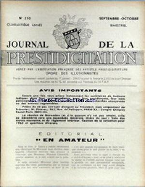 JOURNAL DE LA PRESTIDIGITATION [No 210] du 01/09/1959 - EN AMATEUR. par Collectif