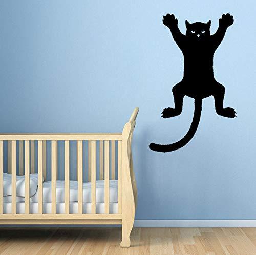 JIWAWAR 31,6 CM * 50 CM Lustige Katze Auf Einer Wand Silhouette Umriss Aufkleber Aufkleber Grafik PVC