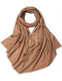 Prettystern - châle pashmina 230cm longues 100% fil de laine 80 monochrome couleur unie franges - sélection des couleurs