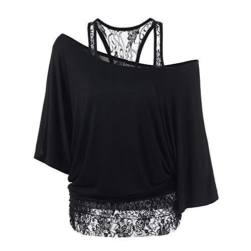 Linkay T Shirt Damen Langarm Bluse Tops Spitze Locker Lässig Oberteile Mode 2019 (Schwarz, X-Large)