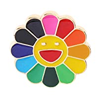 Zhoujinf-Colorful Smile Sunflower Brooch Enamel Rainbow Cartoon Emoji Collar Lapel Pin Badge Clothes Accessories Bag Decor Jewelry Gift