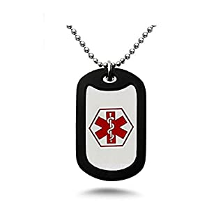 Diabetes Medical Alert Engraved Dog Tag With Rubber Silencer on 24 Chain - All Stainless Steel (Type 2)