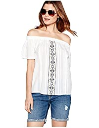 47079f9391381 The Collection Womens White Geometric Embroidered Cotton Bardot Neck Top