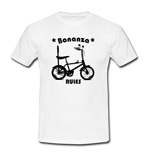 T-Shirt Bonanza Biker Fahrrad BMX Cruiser Lowrider Beachcruiser weiß/schwarz Gr. M