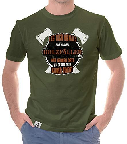 Shirtdepartment - Herren T-Shirt - Leg Dich Niemals mit Holzfällern an Oliv-Weiss XXL