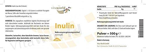 Vita World Inulin Pulver 500g aus der Zichorie Deutsche Apotheker-Herstellung Ballaststoffe